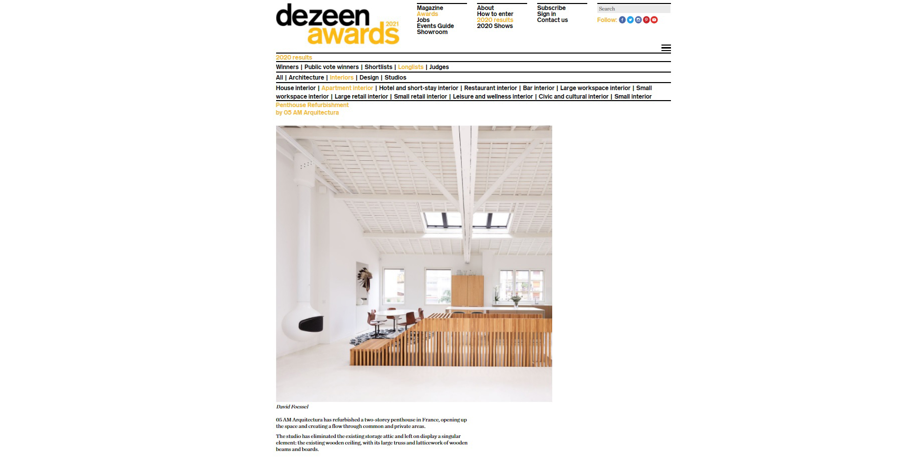 Longlisted to the Interior @Dezeen Awards! with the refurbishment of a penthouse in Paris XXVIème. Very happy!⁠ #1702paris16eme #05ambuilt #05amarquitectura #interiordesignparis #interiordesign #architecture #arquitectura #architektur #архитектура #amenagementinterieur #arquitecturagirona #05ambuilt #davidfoessel